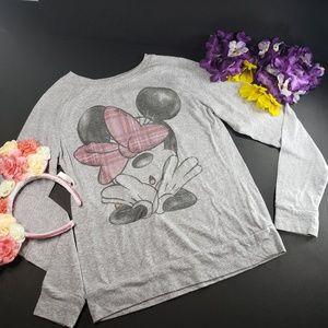 Disney Minnie Mouse Fallen Bow Grey Blouse